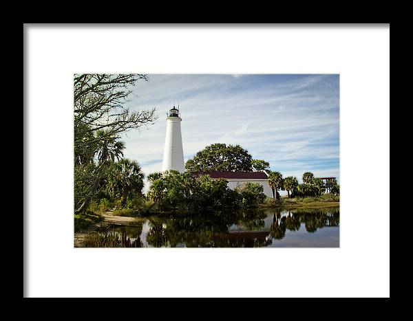 Color Photograph Framed Print featuring the photograph St Marks Lighthouse by Wayne Denmark