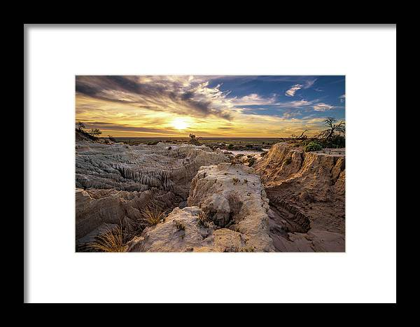 Australia Framed Print featuring the photograph Sunset Over Walls Of China In Mungo National Park, Australia by Miroslav Liska