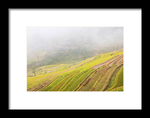 Terrace Framed Print featuring the photograph Terrace Fields Scenery In Autumn by Carl Ning