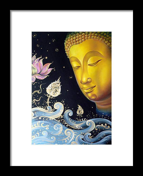Acrylic Framed Print featuring the painting The Light Of Buddhism by Chonkhet Phanwichien