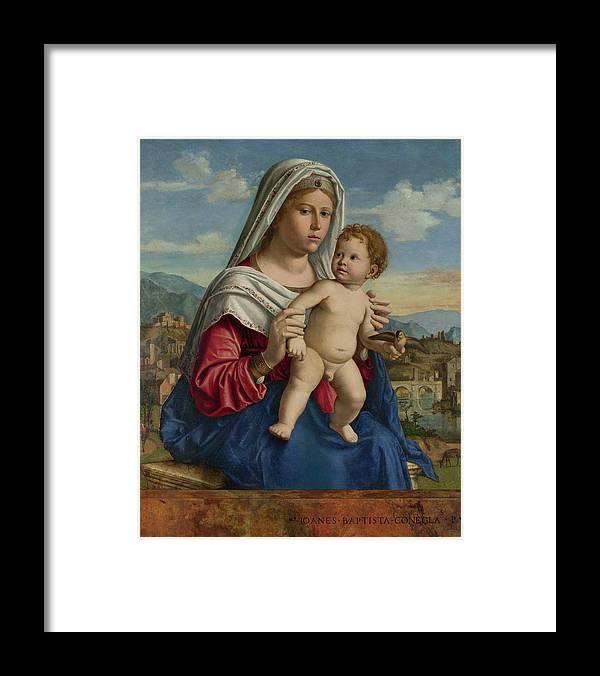 Child Framed Print featuring the painting The Virgin And Child by Giovanni Battista Cima da Conegliano