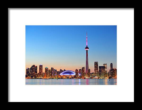Toronto Framed Print featuring the photograph Toronto Skyline by Songquan Deng