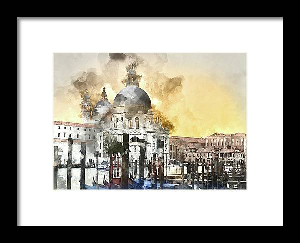 History Framed Print featuring the photograph Venice Italy Digital Watercolor On Photograph by Brandon Bourdages