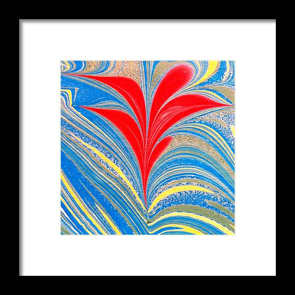 Flower Framed Print featuring the painting Water Marbling Art, Ebru by Dilan C