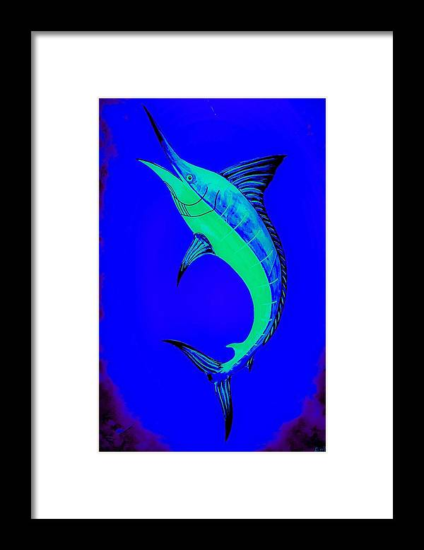 Blue Marlin Framed Print featuring the painting Blue Marlin by Barry Knauff