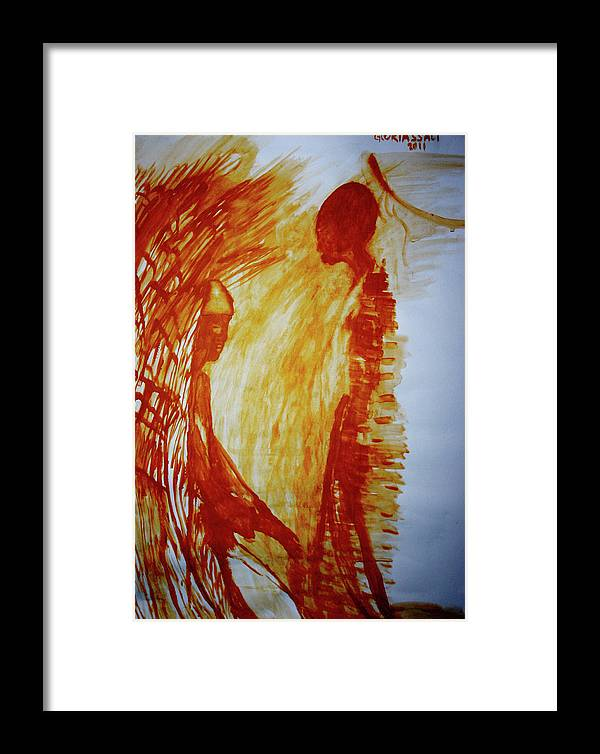 Jesus Framed Print featuring the painting The Annunciation by Gloria Ssali
