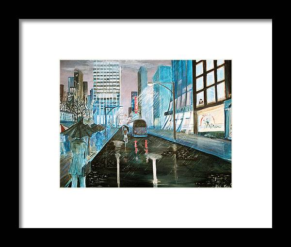 Street Scape Framed Print featuring the painting 42nd Street Blue by Steve Karol