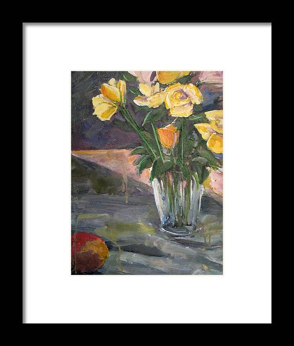 Yellow Rose Framed Print featuring the painting 45 Minutes by Alicia Kroll