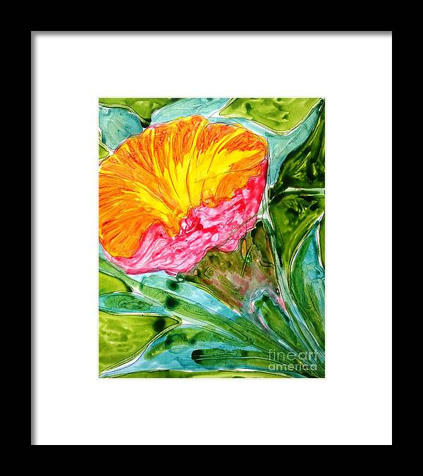 Abstract Flowers Floral Botanical Nature Framed Print featuring the painting Divine Flowers by Baljit Chadha