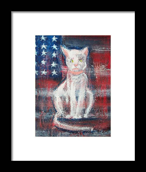 Patriotic Abstract Framed Print featuring the painting 4th Of July Baby by Roxanna Finch