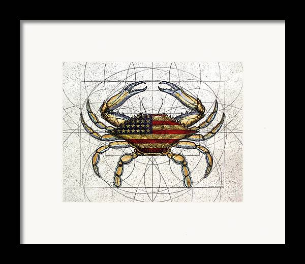 Charles Harden Framed Print featuring the mixed media 4th Of July Crab by Charles Harden