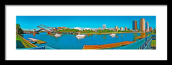 Tampa Panorama Framed Print featuring the photograph 4x1 Downtown Tampa Panorama by Rolf Bertram