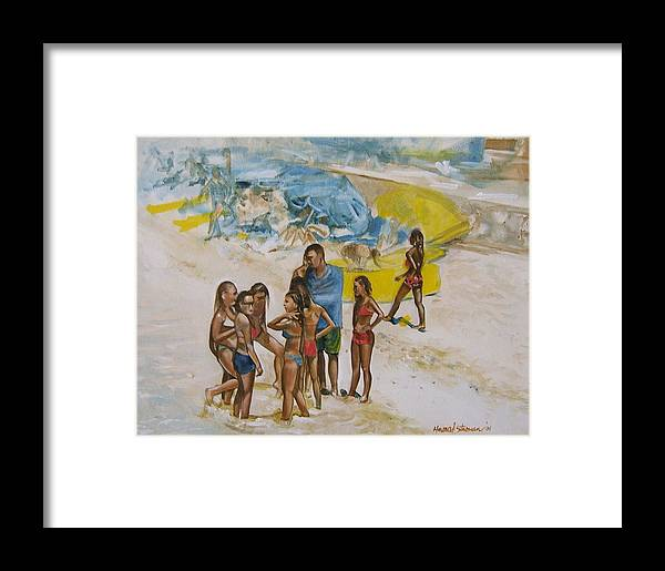 On The Beach Framed Print featuring the painting Untitled by Howard Stroman