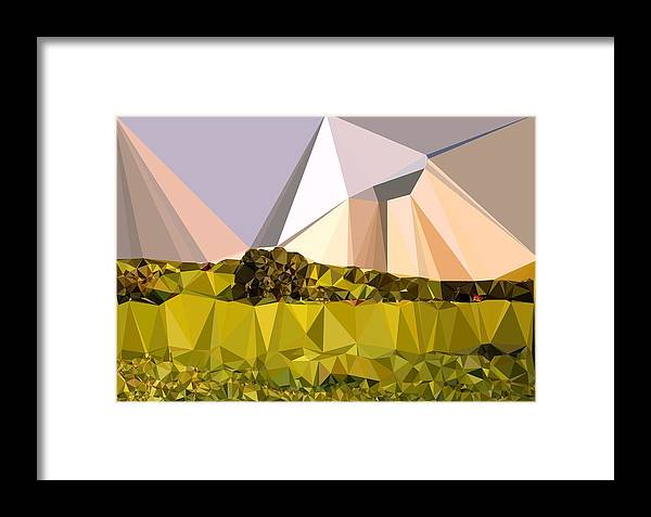 Abstract Art Framed Print featuring the digital art Abstract Art Landscape Of Triangles by Elena Kosvincheva
