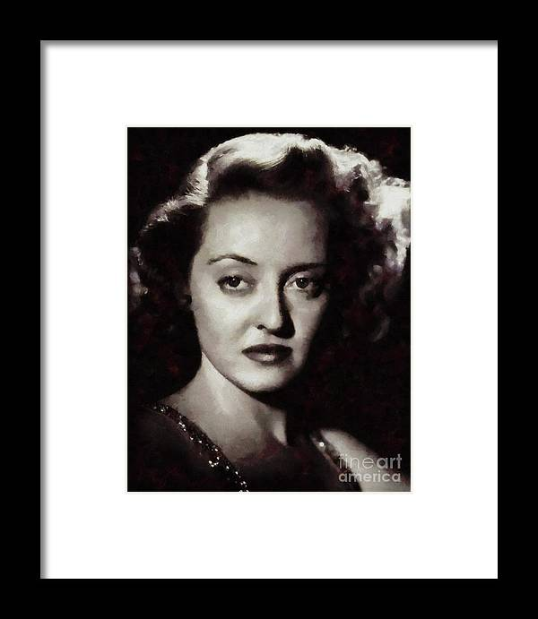 Bette Framed Print featuring the painting Bette Davis Vintage Hollywood Actress by Mary Bassett