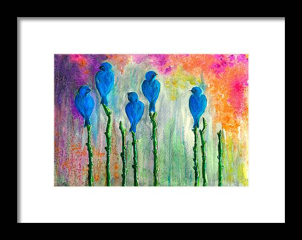 Five Framed Print featuring the painting 5 Bluebirds Of Happiness by Barbi Holzmann