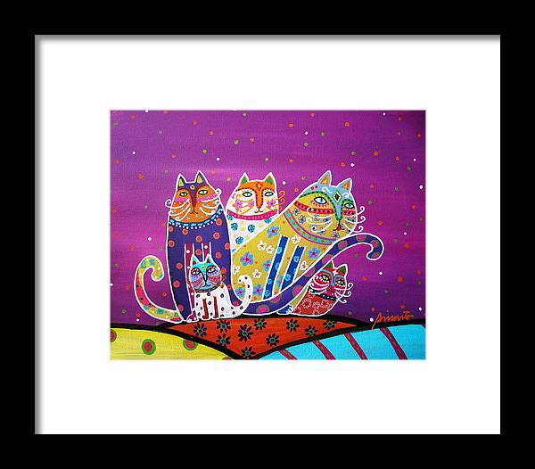Cats Framed Print featuring the painting 5 Cats by Pristine Cartera Turkus