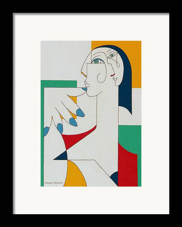 Portrait Framed Print featuring the painting 5 Fingers by Hildegarde Handsaeme