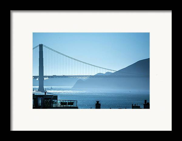 Golden Framed Print featuring the photograph Golden Gate Bridge In Its Beauty At Sunset by Alex Grichenko