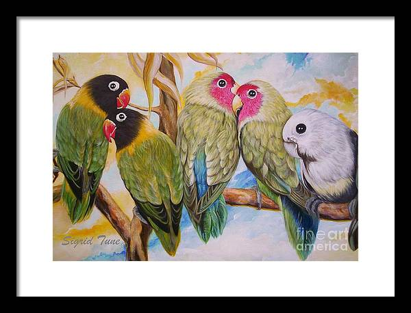 Lovebirds Framed Print featuring the painting Flygende Lammet   Productions     5 Lovebirds Sitting On A Twig by Sigrid Tune
