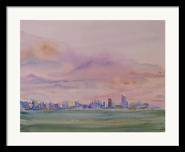 Dawn Framed Print featuring the painting Miami Water by Christine Bohrer