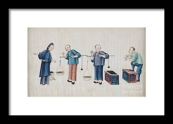 Portraying The Chinese Tea Traders Framed Print featuring the painting Portraying The Chinese Tea Traders by Celestial Images