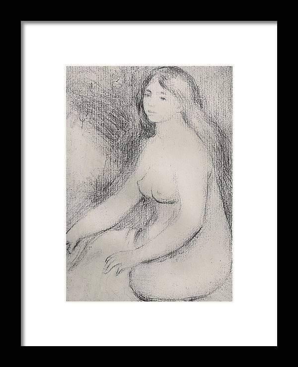 Renoir Framed Print featuring the drawing Seated Bather by Pierre Auguste Renoir