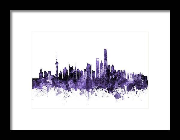 Shanghai Framed Print featuring the digital art Shanghai China Skyline by Michael Tompsett