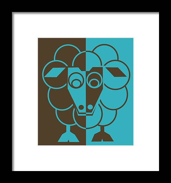 Heep Framed Print featuring the painting Sleep-sheep - Lonvig By Minymo by Asbjorn Lonvig