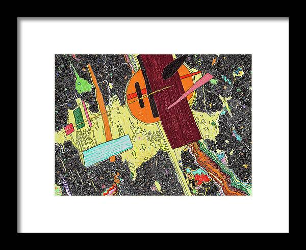 Elena Framed Print featuring the painting Circle And Hammer In The Space by Elena Ferri