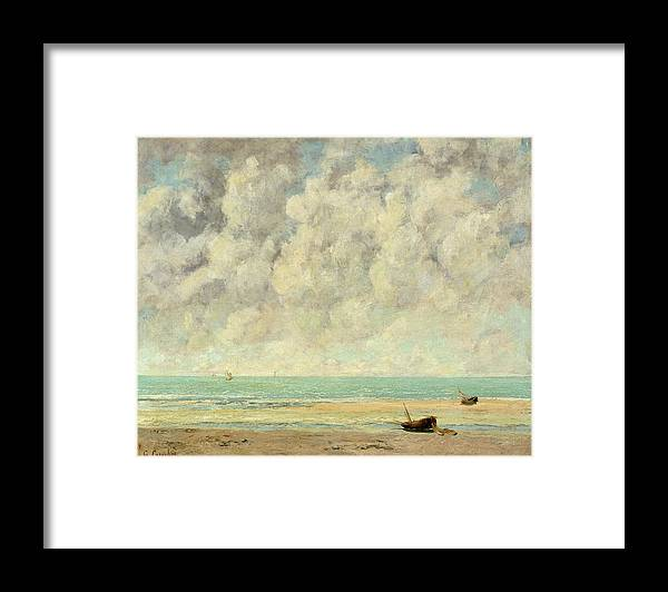 The Calm Sea Framed Print featuring the painting The Calm Sea by Gustave Courbet