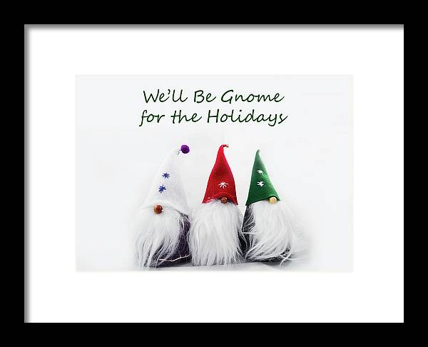Dwarf Framed Print featuring the photograph Three Holiday Gnomes 2a by Bob Corson