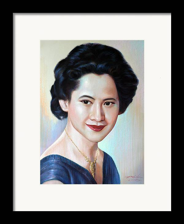 Woman Framed Print featuring the painting Untitled by Chonkhet Phanwichien