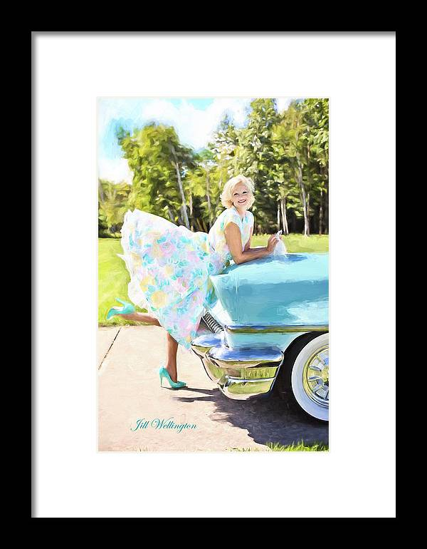 Vintage Val Framed Print featuring the digital art Vintage Val In The Turquoise Vintage Car by Jill Wellington