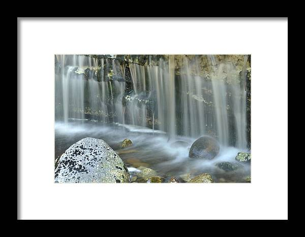 Waterfall Detail Framed Print featuring the photograph Waterfall Detail by Stephen Vecchiotti