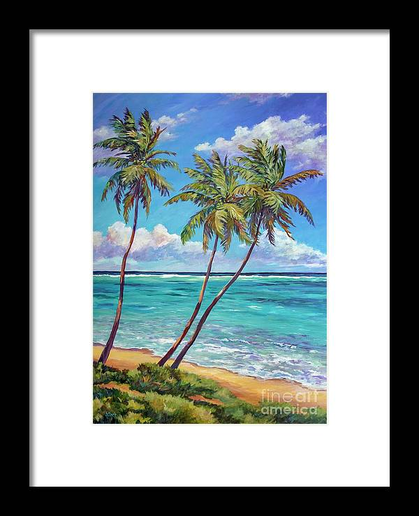 Art Framed Print featuring the painting 5 X7 East End Palms by John Clark