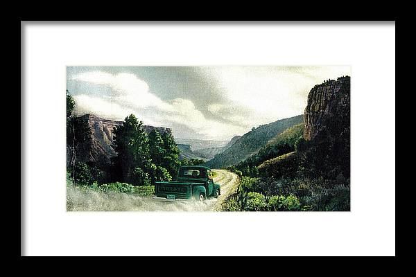 Landscape Framed Print featuring the print '50 Chevy Pickup In Unaweep Canyon by Lee Bowerman