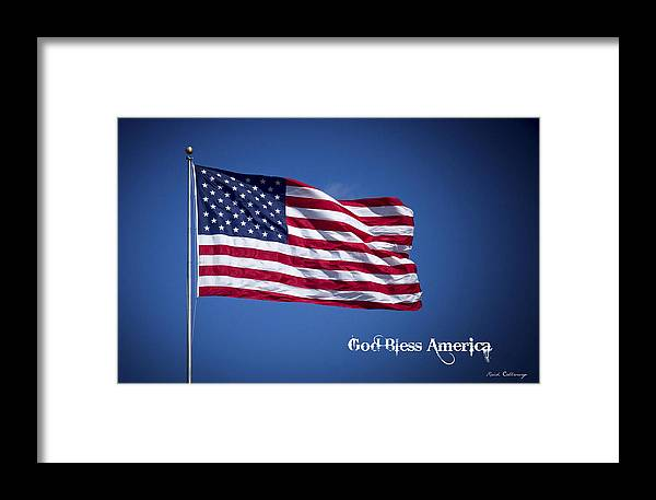 50 Stars Thirteen Stripes American Flag God Bless America Framed