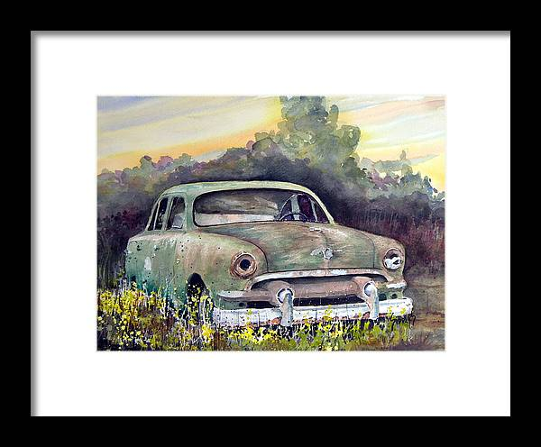 Car Framed Print featuring the painting 51 Ford by Sam Sidders