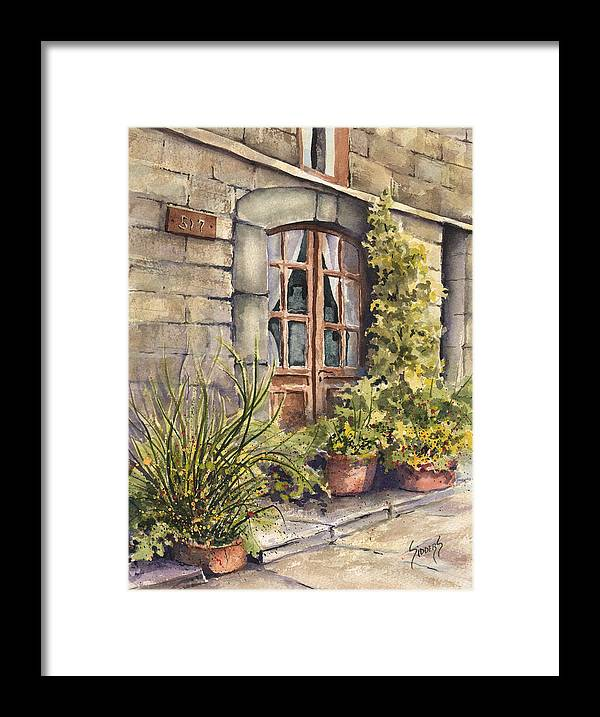 Door Framed Print featuring the painting 517 by Sam Sidders