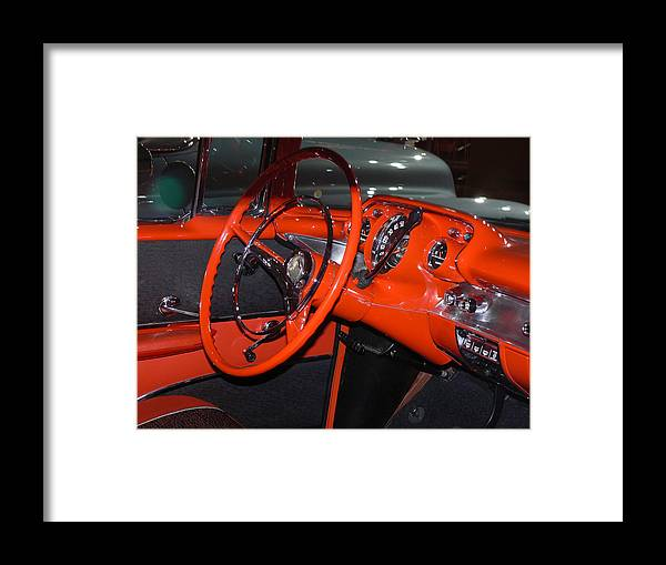 57 Chevrolet Bel Air Coupe Interior Dashboard Framed Print featuring the photograph 57 Chevy Bel Air Interior by Ron Hayes