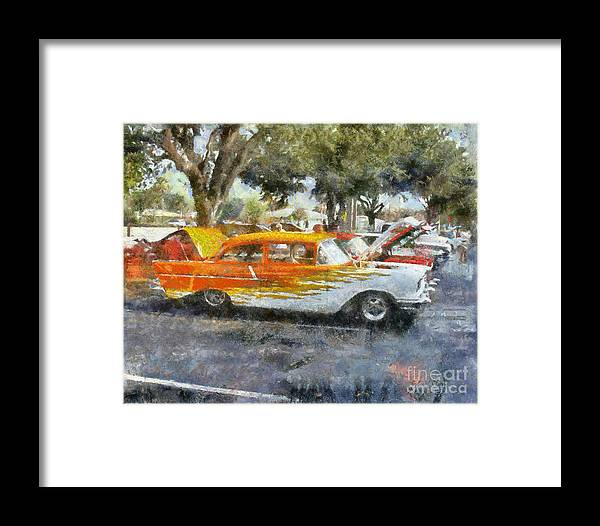 57 Chevy Framed Print featuring the painting 57 Chevy by Chris Colter