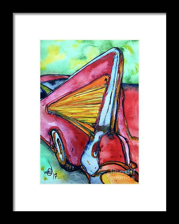 Chevy Chevrolet 57 1957 Red Orange Yellow Car Automobile Abstract Car Art Fifties Fifty Colorful Framed Print featuring the painting '57 by Glen bleep Garnett