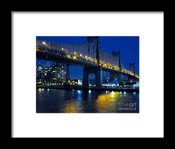 59th Street Bridge Framed Print featuring the photograph 59th Street Bridge At Dusk by Ken Lerner