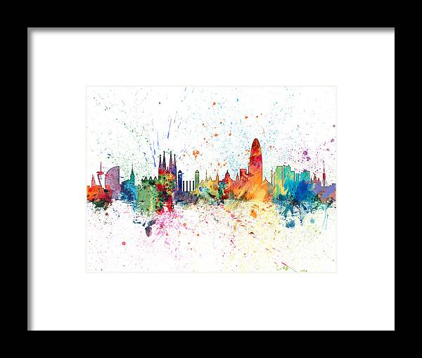 Barcelona Framed Print featuring the digital art Barcelona Spain Skyline by Michael Tompsett