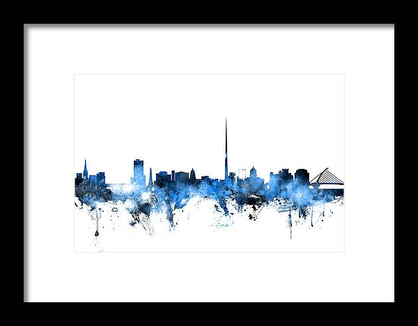 Dublin Ireland Skyline Framed Print by Michael Tompsett