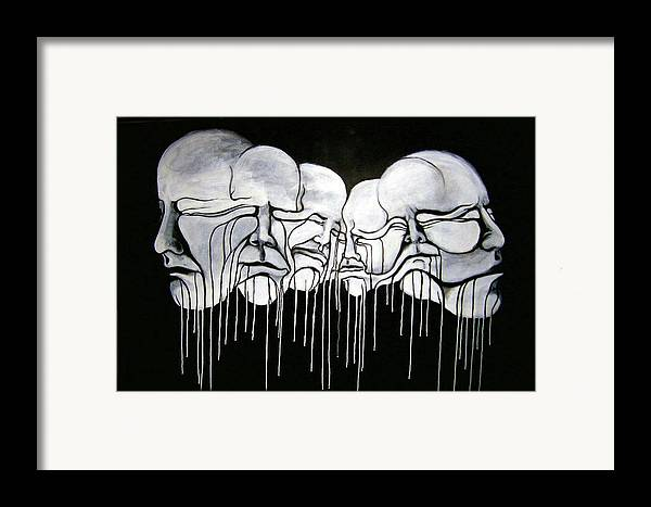 Faces Framed Print featuring the painting 6 Faces by Stephen Barry