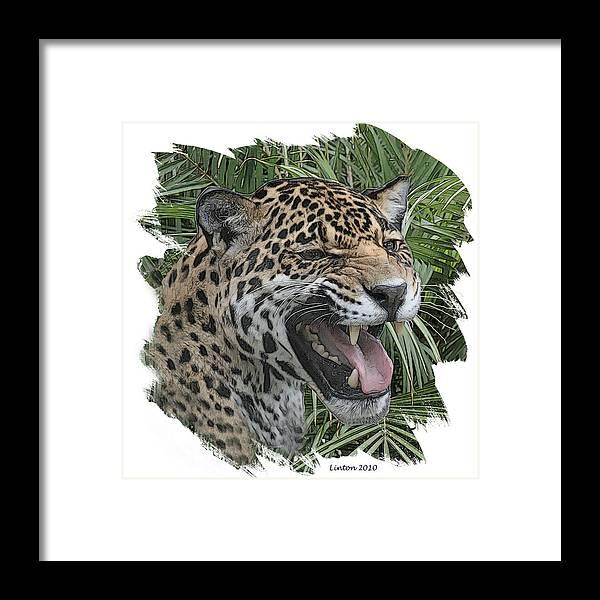 Jaguar Framed Print featuring the digital art Jaguar by Larry Linton