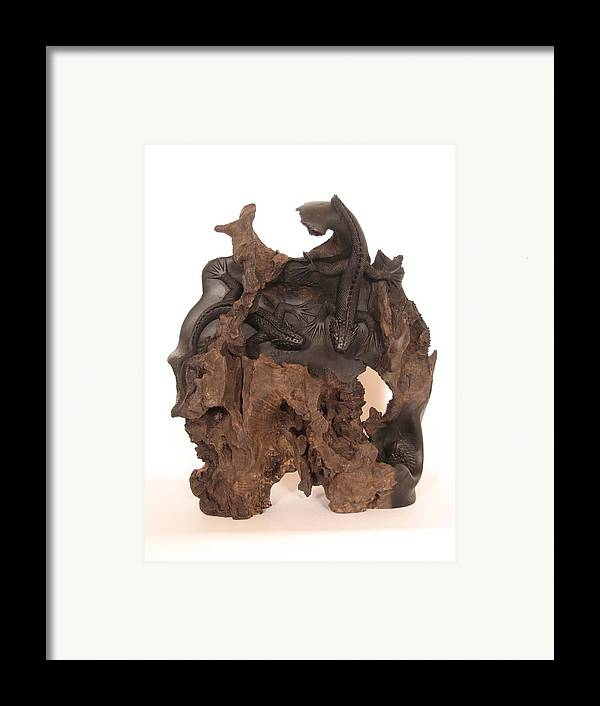Wildlife Framed Print featuring the sculpture Lizards by Thu Nguyen