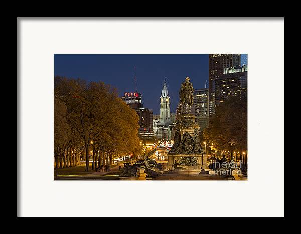 Ben Franklin Parkway Framed Print featuring the photograph Philadelphia Skyline by John Greim